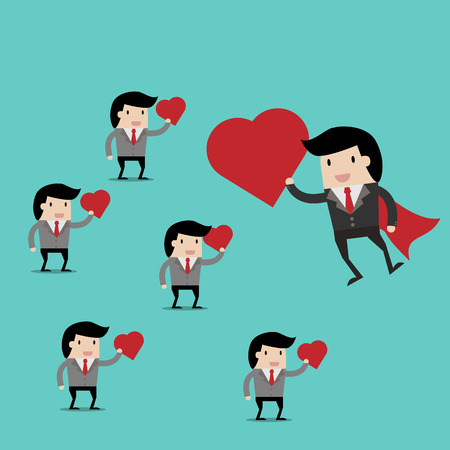 ecstasy: vector business finance. i love my job for investment concept,cartoon businessman with Heart in his hand to show love my job . cartoon vector illustration for business design