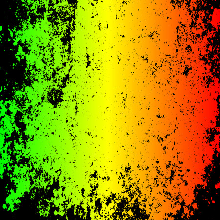 Abstract grunge painted scratched texture background .   vector illustration reggae colors green, yellow, red