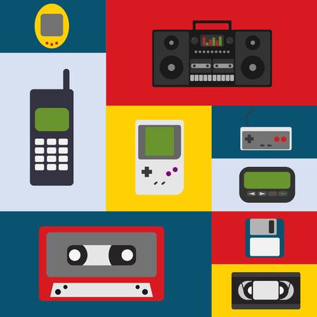 walkman: Vector illustration 90s gadget icons