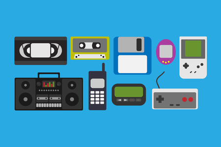 pager: Vector illustration 90s gadget icons