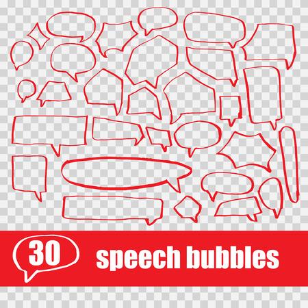 vector set hand drawn speech bubbles