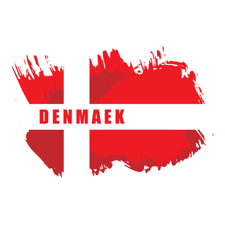 Painted grunge Denmark flag, brush strokes on white background. Vector illustration Illustration