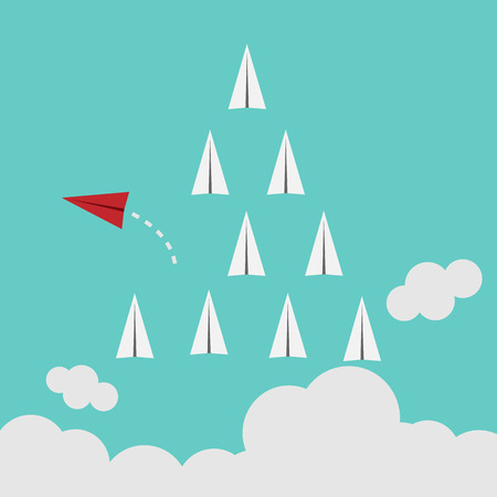 Red airplane changing direction and white ones. New idea, change, trend, courage, creative solution, innovation and unique way concept. Illustration