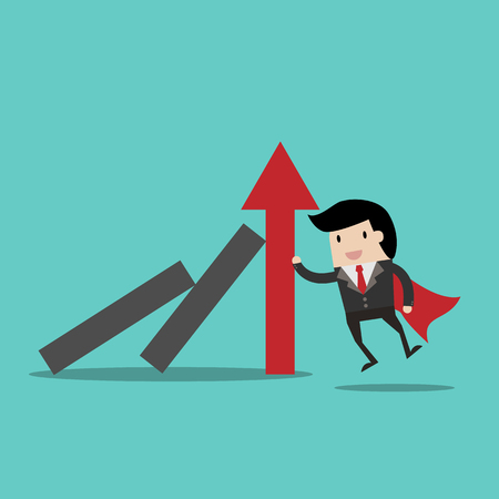 resilient: Successful strong confident businessman stopping domino effect.