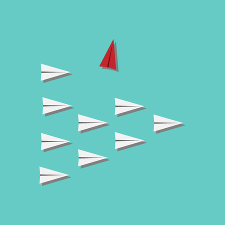 Red airplane changing direction and white ones. New idea, change, trend, courage, creative solution, innovation and unique way concept. Ilustração