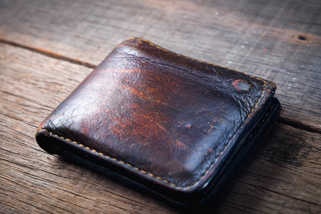 eather wallet with filter effect retro vintage style Stock Photo