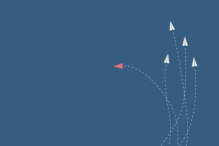 Minimalistische stijl rode vliegtuig van richting te veranderen en witte. Nieuw idee, verandering, trend, moed, creatieve oplossing, innovatie en unieke manier concept.