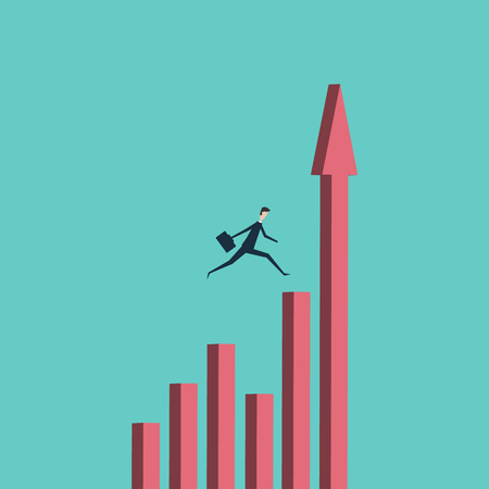 boldness: Minimalist stile. vector business finance. businessman jumping over chasm vector concept. Symbol of business success, challenge, risk, courage