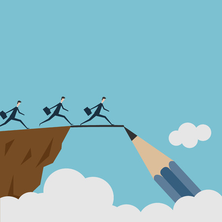conquering adversity: vector drawing a bridge and conquering adversity business concept as a group of people running from one cliff to another with the help of a pencil line sketch as a concept for bridging the gap for success.