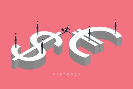 Minimalist style vector business finance concept. exchange businessman jumps dollar and euro