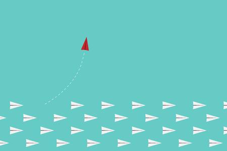 方向と白のものを変更するシンプルなかまち赤い飛行機。新しいアイデア、変更、傾向、勇気、創造的な解決、技術革新とユニークな方法概念。