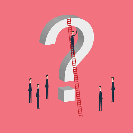 Minimalist style vector business finance concept. businessman and question mark. Problem, confusion and challenge . Flat design.