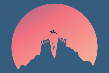 vector minimalist style  businessman jumping on I can do it or I cant do it text over cliff on sunset background,Business concept idea Ilustração