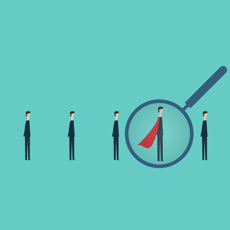 Minimalist style vector business finance concept.  choosing worker from group of businesspeople