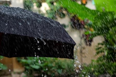 Rain drops falling from a black umbrella Stock Photo