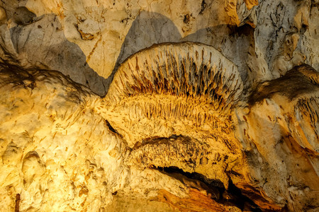 Beautiful Stalactites on the Trails inside the Muang On Cave Chiang Mai, Thailand. Stock Photo