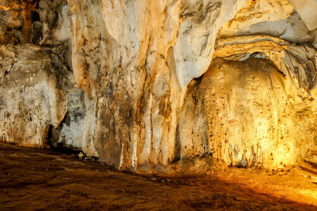 sacral: Beautiful Stalactites on the Trails inside the Muang On Cave Chiang Mai, Thailand. Stock Photo