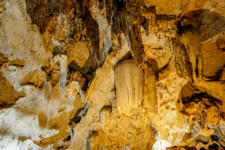 geological formation: Beautiful Stalactites on the Trails inside the Muang On Cave Chiang Mai, Thailand. Stock Photo