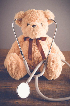 Health Care teddy bear Heart stethoscope with filter effect retro vintage style
