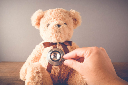 pediatrist: Health Care teddy bear Heart stethoscope with filter effect retro vintage style