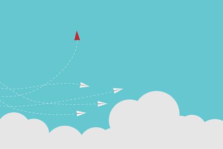 Avión de estilo minimalista rojo que cambia de dirección y blanco. Nueva idea, cambio, tendencia, valor, solución creativa, innovación y concepto único de la manera. Ilustración de vector
