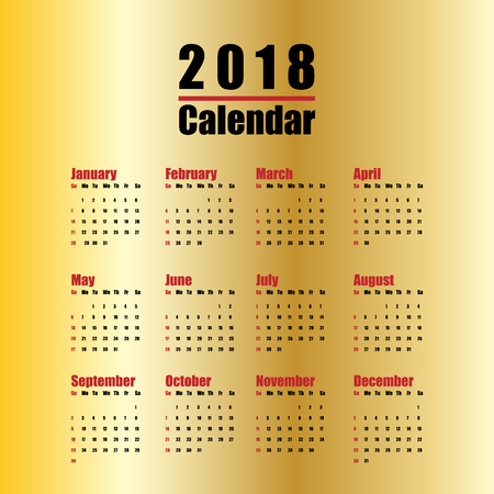 Vector  template of 2018 new year calendar in clean minimal table simple style red black and gold color