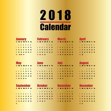 깨끗 한 최소한의 테이블에서 2018 신년 달력의 벡터 템플릿 간단한 스타일 빨간색 검정색과 금색