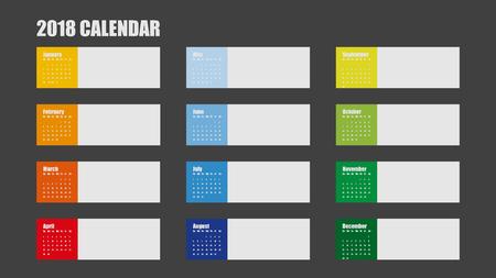 깨끗 한 최소한의 테이블에서 2018 신년 달력의 벡터 서식 파일 간단한 스타일 다채로운 빨간색 파란색 녹색 및 노란색 색 일러스트