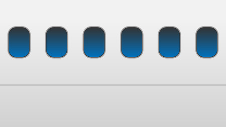Windows of the white airplane vector
