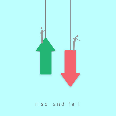 Minimalist stile.business finance. Raise and fall of business indicators. Successful vision concept with icon of Businessman on arrow up and down. vector illustration. 일러스트