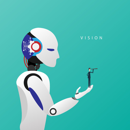 Minimalist stile. Vector business finance. Successful vision concept with icon of businessman and telescope in robot hand, symbol leadership, strategy, mission, objectives. Illustration