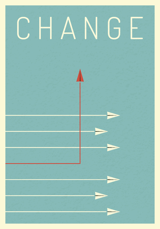 Minimalist stile red airplane changing direction and white ones. New idea, change, trend, courage, creative solution,business, innovation and unique way concept.