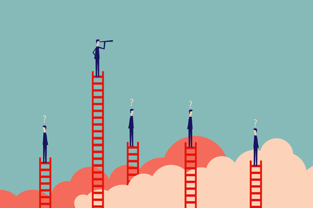 Stile minimaliste. finance d'entreprise de vecteur. Concept de vision réussie avec l'icône de l'homme d'affaires et télescope, leadership de symbole, stratégie, mission, objectifs.