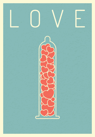 retro poste.r heart on condom. valentine and love concept. vector illustration eps1