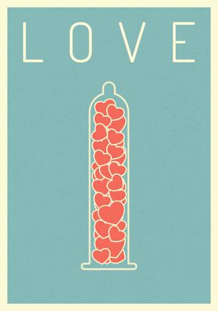 retro poste.r hart op condoom. valentijn en liefde concept. vector illustratie eps1 Stock Illustratie