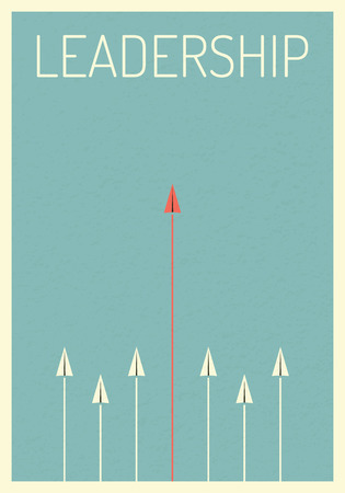 Minimalist retro poster stile. vector business finance. Leadership concept, red paper planes flying in sky. manages financial growth graph. Template investment. Vector illustration flat design.Symbol leadership, strategy, mission, objectives.