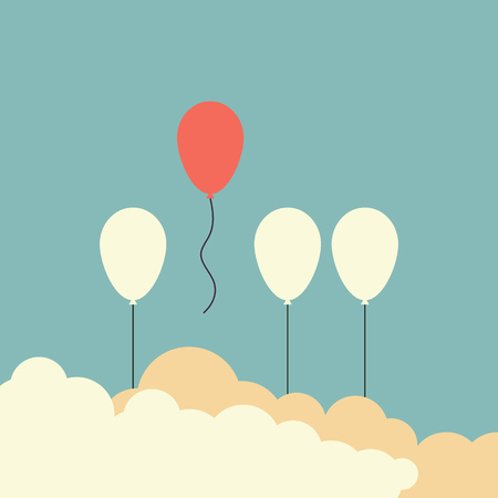 Minimalist retro style stand out from the crowd and different concept , One red balloon flying away from other white balloons vector illustration.