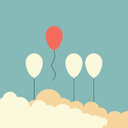 Style rétro minimaliste se démarquer de la foule et concept différent, un ballon rouge s'envolant des autres ballons blancs vector illustration. Vecteurs
