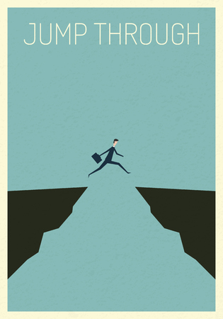 Minimalist poster stile.  vector business finance. businessman jumping over chasm vector concept. Symbol of business success, challenge, risk, courage