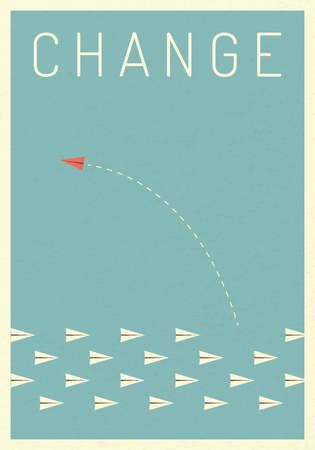 Minimalist stile red airplane changing direction and white ones. New idea, change, trend, courage, creative solution,business, innovation and unique way concept. Stok Fotoğraf - 93874255