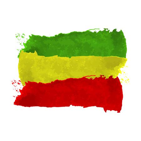 추상 그런 지 긁힌 된 질감 배경을 그렸습니다. 벡터 일러스트 레이 션 레게 색 녹색, 노란색, 빨간색.
