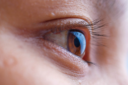 asia woman eye macro, the vision of the future and healthy life concept. view precise and straight to the target concept Stok Fotoğraf