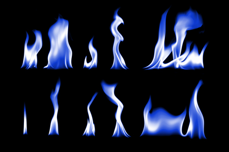 The collection of blue fire ,blue fire on black background light Stock Photo