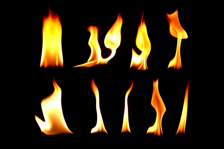 The collection of fire ,Bonfire on black background light Stock Photo