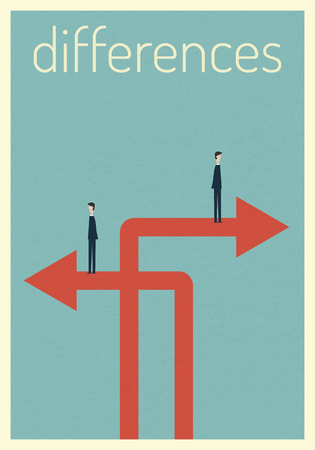 Different arrow with businessmen on different paths