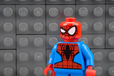 chiang mai, THAILAND - MAY 27, 2018: Lego Marvel super hero spiderman, a privately held company based in Billund, Denmark. Redactioneel
