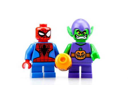 chiang mai, THAILAND - MAY 27, 2018: Lego Marvel super hero spiderman, a privately held company based in Billund, Denmark.