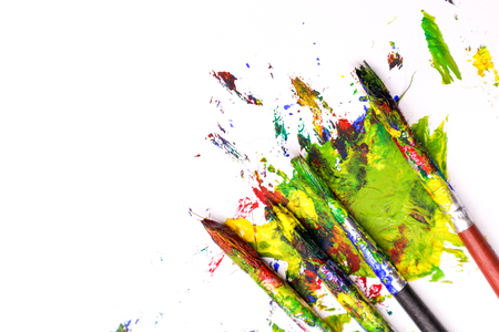 Colorful Paint Brushes with the Colors Stock Photo