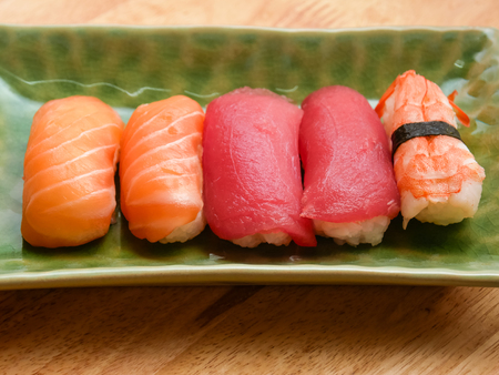 japanese food salmon and tuna sushi delicious