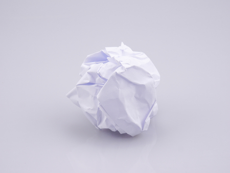 Crumpled paper balls on agray background 写真素材